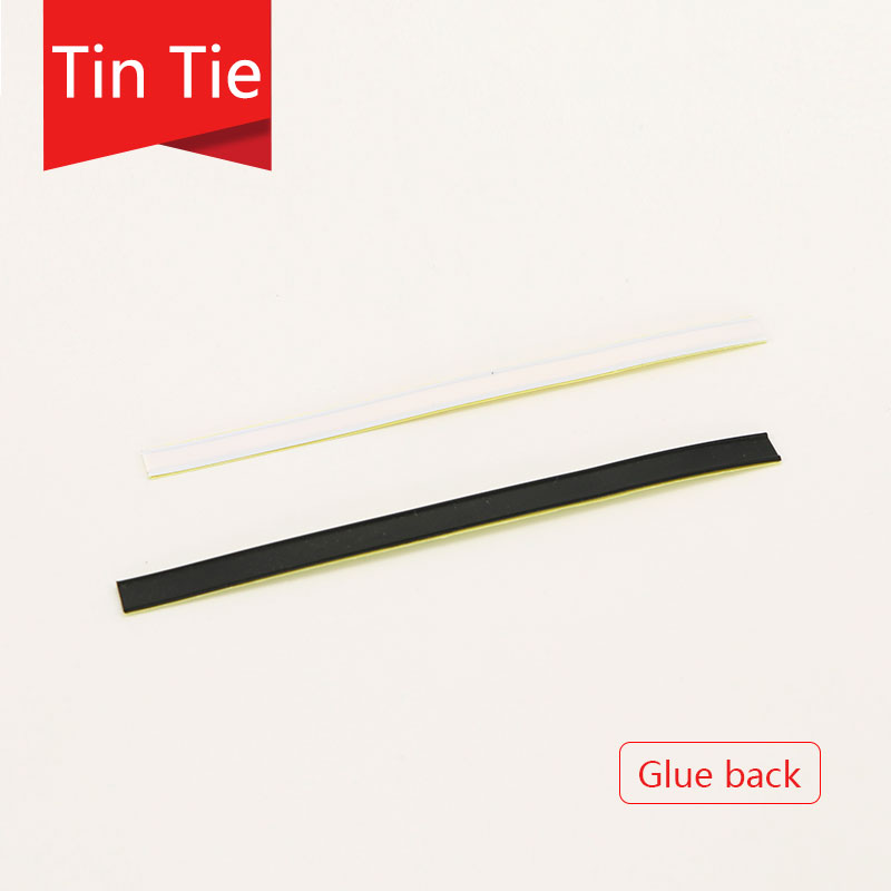 white and black tin tie for coffee bean bag plastic metallic seal strip with glue food bag sealing clip