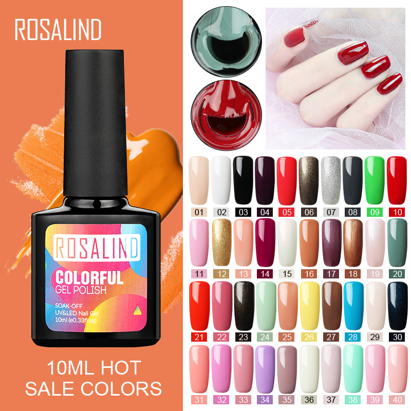 ROSALIND 10ml Gel Nail Polish UV Colors Nail Gel For Nail Art Lacquer Vernis Semi Permanent Acryl Hybrid Gel Varnishes Top Coat(China)