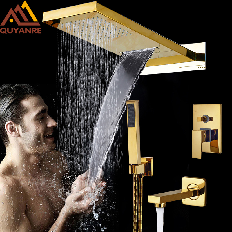 Luxury Golden In Wall Mounted Shower Faucets Set Rainfall Waterfall Shower Head Mixer Tap ABS Handshower Tub Spout Bath Shower