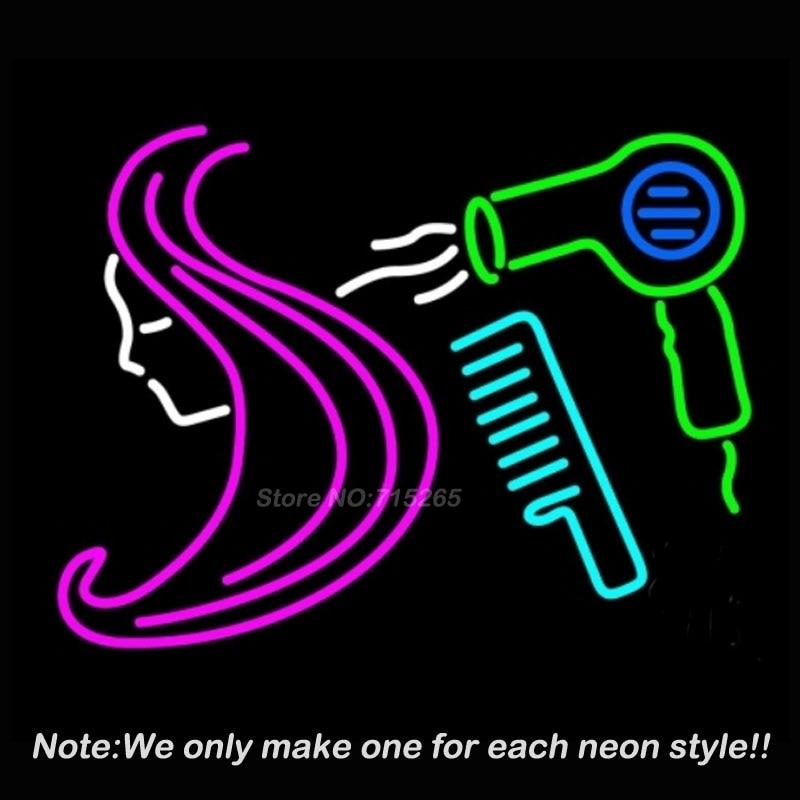 barber hair logo salon neon