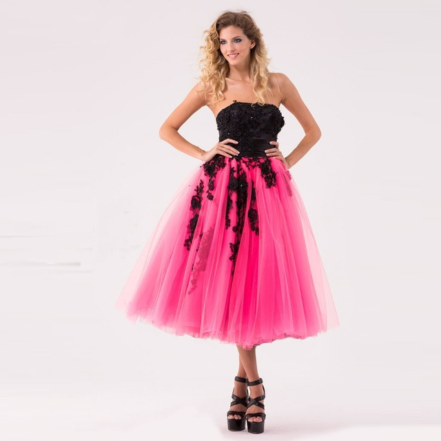 Lovely Girls Tea Length Cocktail Dresses 2016 New Tulle Strapless ...