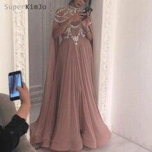 SuperKimJo Pregnant Prom Dresses 2019 Chiffon Beaded Crystal Gown Plus Size Formal Dress Vestido De Festa