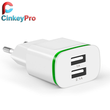 CinkeyPro EU Plug 2 Ports LED Light  USB Charger 5V 2A Wall Adapter Mobile Phone Device Data Charging For iPhone iPad Samsung