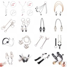 16 Style Nipple Clamps With Metal Chain Adjustable Breast Labia Clips Clit Clamp Sex Toys For Couple Fetish Adult Game Sex Toy