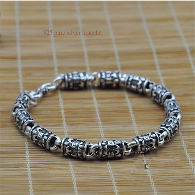 6mm Vintage Thai silver bracelets 925 Sterling Silver Bracelet for Men cool Men jewelry Fine Jewelry HYB5