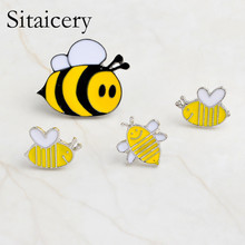Sitaicery Fashion Brooches Cartoon Cute Bee Brooch Kids Girls Clothes Accessories Black Yellow Enamel Pin Birthday Gift Jewelry
