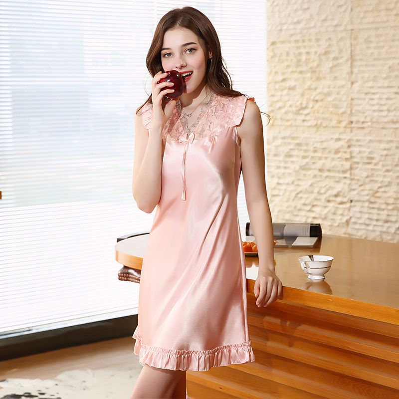 SSH0184 Summer 4XL Plus Size Nightgown Women Satin Silk Sleeveless Sleepwear Sexy Lace V Neck Gowns Lady Babydoll Dress Lingerie