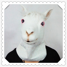 Halloween Party Cosplay Animal Horse Mask Natural Rubber Alpaca Head Adult Party Halloween Masquerade Animal Head Dress Up Masks
