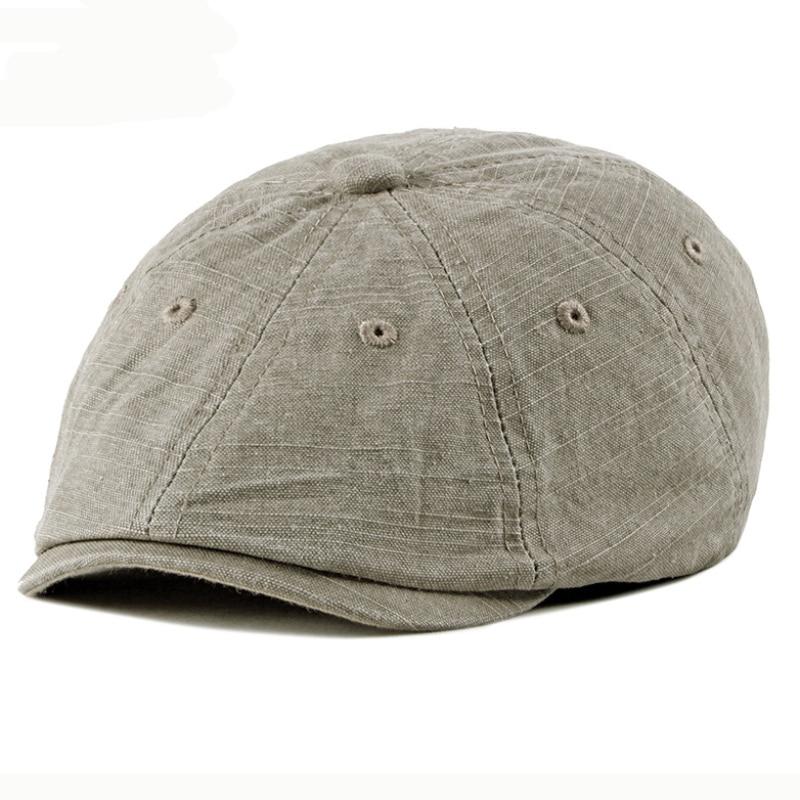 HT2557 Beret Hat Vintage Washed Cotton Men Women Flat Cap Retro Ivy Octagonal Newsboy Spring Summer Berets for