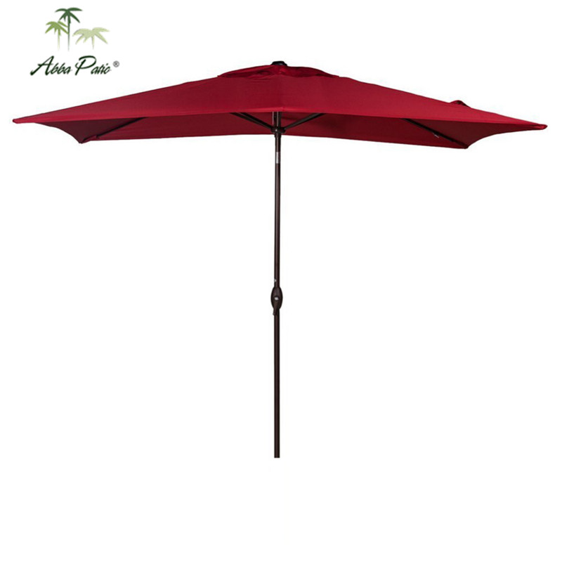 Abba Patio 6.6 by 9.8-Feet Rectangular Market Outdoor Table Patio Umbrella with Push Button Tilt and Crank Red abba patio outdoor porch rectangular table and chair set cover water proof all weather protection tan 108 l x 82 w x 36 h