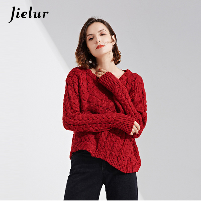 Jielur 2018 Winter Loose Twist Braided Ladys Sweater Fashion Irregular Hem Knitted Sweater Women Europe High Street Knitwear