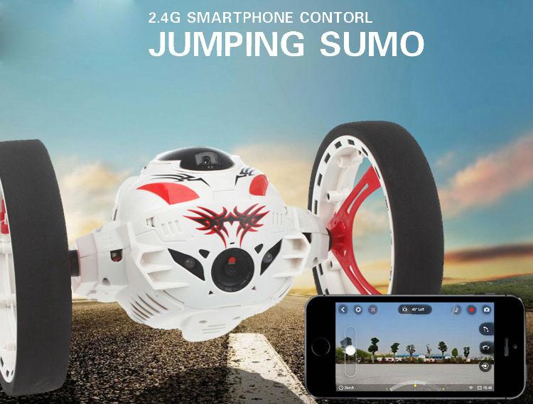 цена на RC Cars with HD Camera 2.0mp Hot sale New WIFI Bounce Car PEG SJ88 4CH 2.4GHz Jump Sumo with Flexible Wheels Remote Control FSWB