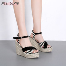 ALL YIXIE 2019 Summer New Fashion Womens Shoes Sandals Wild Woven Striped Wedges Casual Open Toe High Heels