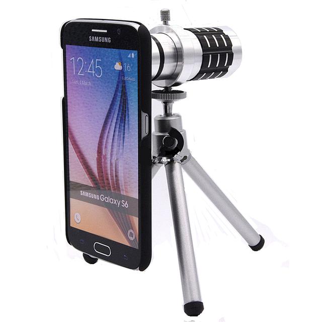 Orbmart aluminio 12X Zoom óptico telescopio lente de la cámara para Samsung S6 S6 borde más S7 S7 borde con nuevo caso protector