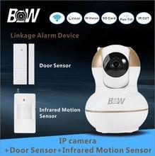 Micro cámara ip wifi p2p inalámbrico + sensor de la puerta + infrarrojos motion sensor de cámara de seguridad inicio 720 p hd onvif wi-fi cámara bw12g
