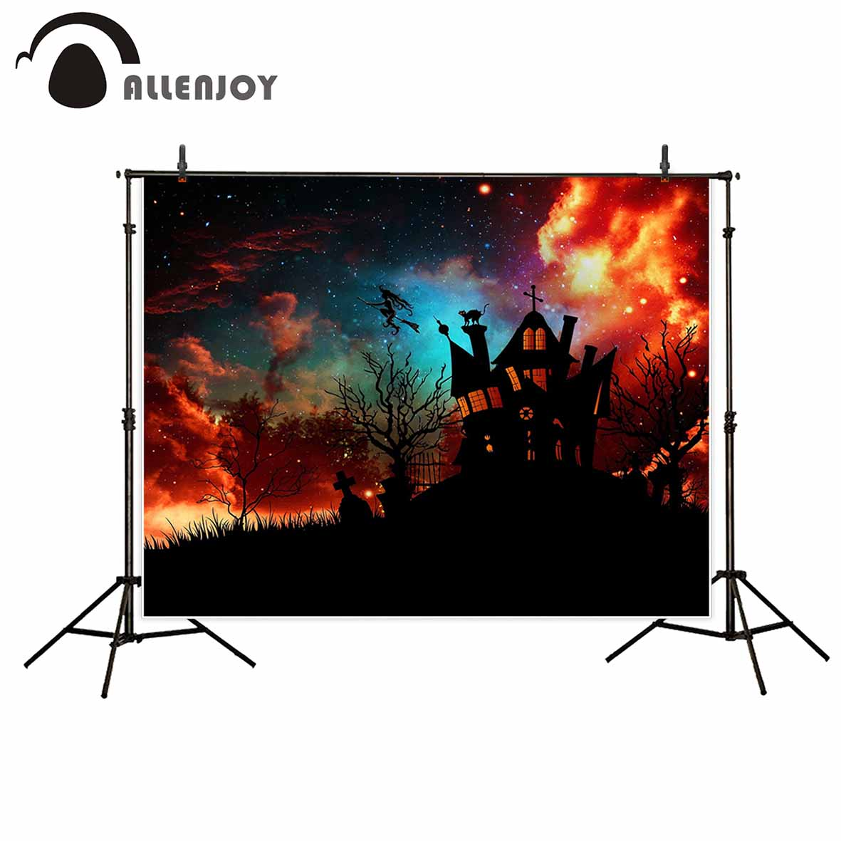 Allenjoy Halloween backdrop decoration castle stars tree grave photo background photographic background