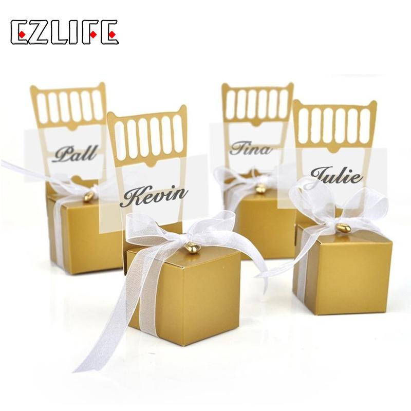 100pcs/set Mini Chair Shape Place Card Holder Candy Box Gift Favour Boxes Wedding Bonbonniere Event Party Supplies HQH0129