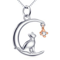 GNX11953 100 Real Pure 925 Sterling Silver Charming Necklace Lovely Cat Moon Crystal Pendant Romantic Jewelry