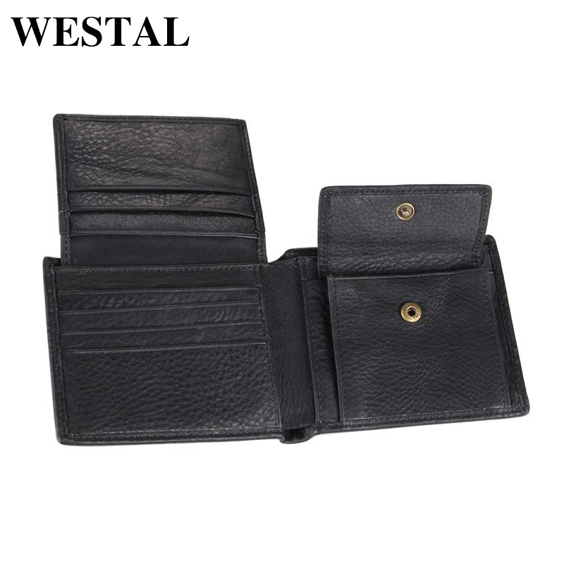 WESTAL 100% Genuine Leather Men Wallet Credit Card Holder Coin Purse Men For Card Leather Wallets Men Leather Cards 8063 westal 100% genuine leather men wallet credit card holder coin purse mens leather wallets with coin purse men wallets 8063