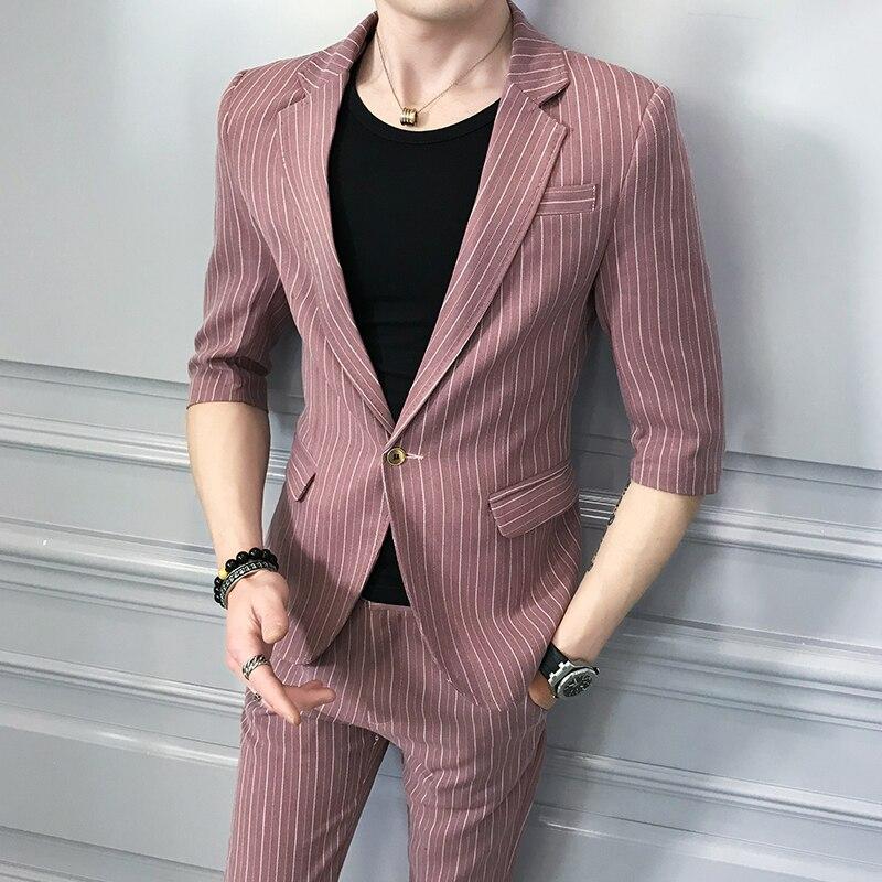 (Tops + pants) New mens small suit Korean leisure handsome personality suit suit host youth tide mens single suit