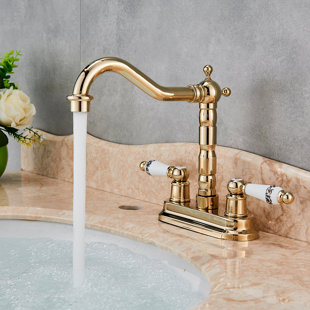 Dual Handle Swivel Bathroom Kitchen Sink Faucet Antique Brass/Golden Polish Mixer Tap with Hot and Cold Water Deck Mounted