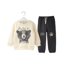 2018 Spring Autumn Children Boy Suit Clothing Set Baby Sports Cartoon Bear Costume Character Kids Tracksuit