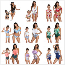 Mother Daughter Swimsuit  Panda in Mommy and Me printing piece double lotus leaf Parent-Child Swimwear Family matching