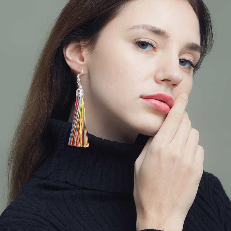 Qtian Handmade Tassel Earrings 2019 Trendy Bohemian Black Red 14 colors Long Dangles Vintage Tassel Earrings For Women pendiente