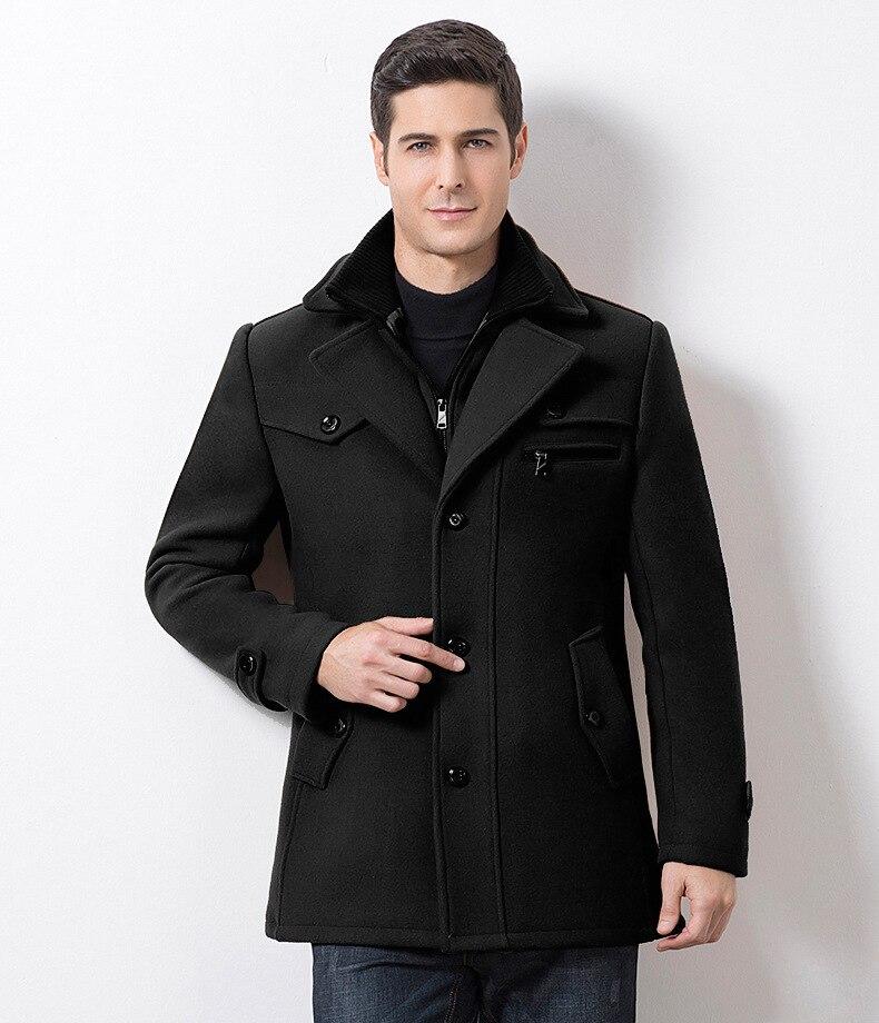 Winter Men's Casual Wool Trench Coat Fashion Business Medium Solid Thicken Slim Windbreaker Overcoat Jacket Male Plus Size 5XL 18