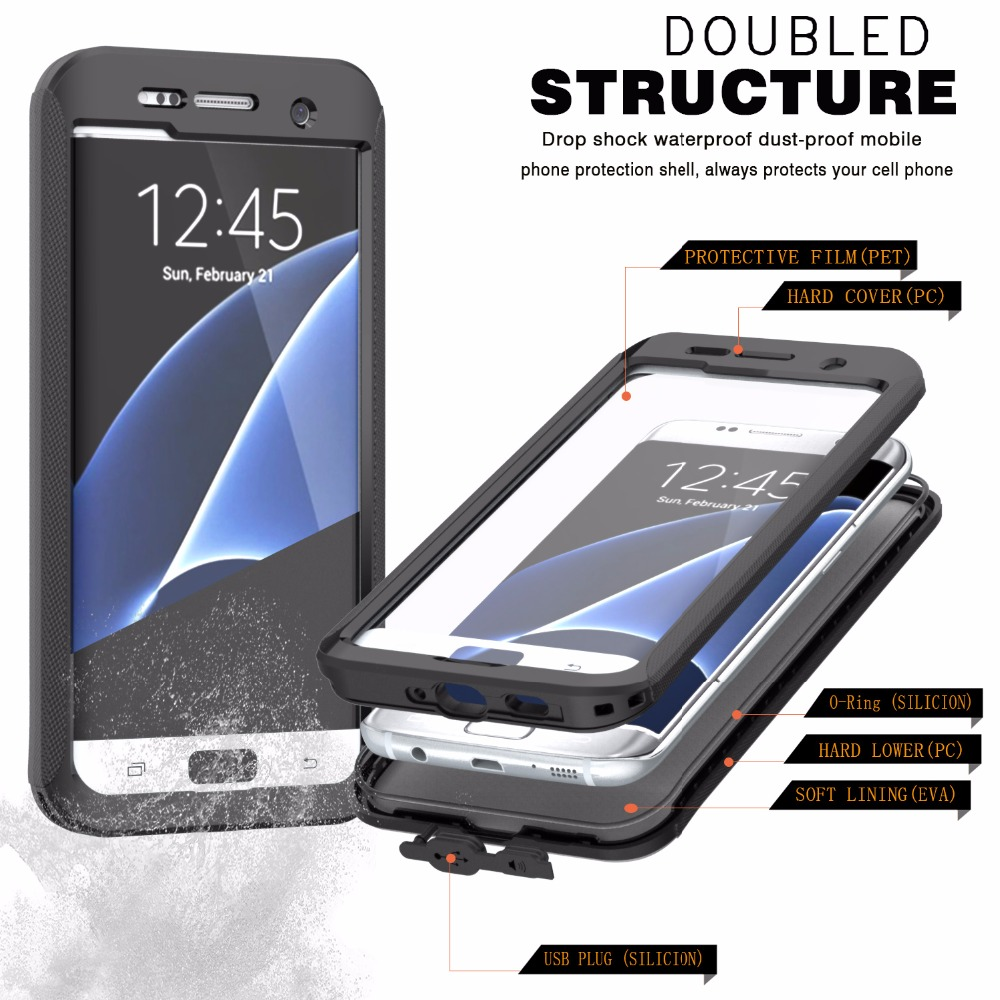 swim dive ip68 waterproof shockproof case for samsung galaxy s6 s7 edge plus fingerprint tpu pc