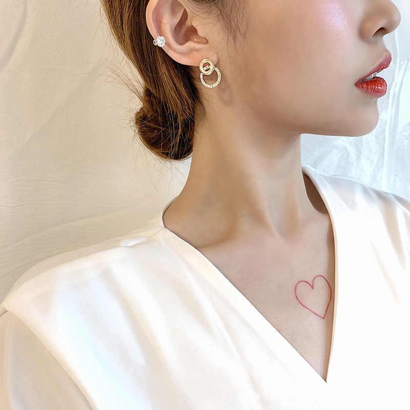 2019 New Arrival  Alloy Classic Round Women Dangle Earrings For Korean Girl Heart Eardrop Simple Set Earrings Woman Female Gift