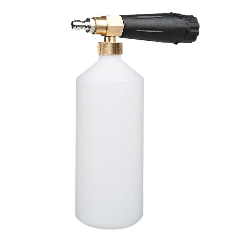 Lavadora a presión lavado a chorro liberación rápida espuma de nieve Cañón de espuma 1L botella 1/4 pulgadas lavado de coches Adaptador para boquilla de espuma/Cañón de espuma/generador de espuma/vaporizador de jabón de alta presión para Karcher K2 K3 K4 K5 K6 K7 lavadora a presión
