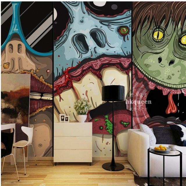 horror animated cartoon background bathroom japanese theme monster living wall 3d mural zoom mouse wallpapers