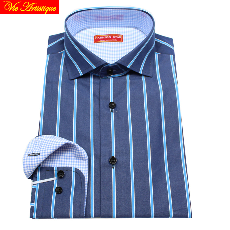 b4975c580b camisa masculina men's long sleeve purple white striped dress shirts ...