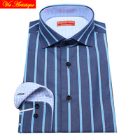 men's long sleeve navy green wide striped dress shirts male tailored 6789 XL business office cotton slim fit 18 spring summer