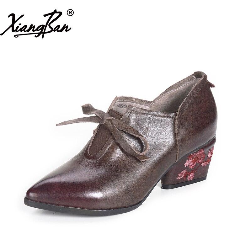 Broderie 2019 Laçage Femmes Femme Profonde Talons Bouche Escarpins National Hauts Chaussures Pour Vent Red Xiangban Coffee Printemps Pointe xYwPvv