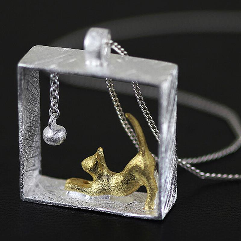 1Pcs New Design Sweater Chain Silver Plated kitty Cat Necklaces & Pendants For Women Girl Jewelry