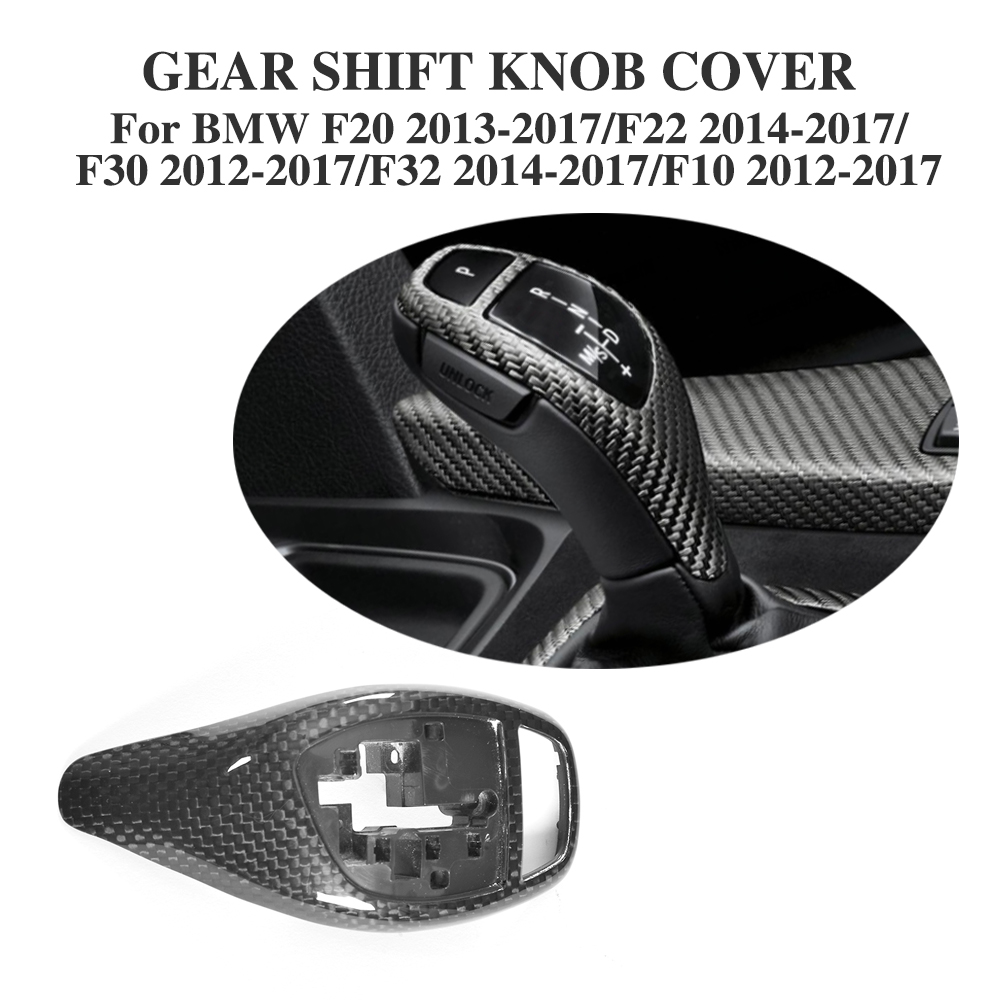 DRY Carbon Fiber Gear Shift Knob Interior Cover For BMW 1 2 3 4 5 Series F20 F22 F30 F32 F10 2012-2017 Car Accessories fit for toyota camry 2018 carbon fiber style interior gear shift knob cover trim interior mouldings interior accessories