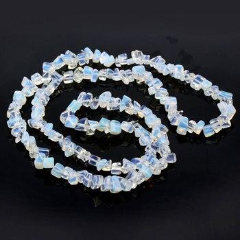 1 cadena de Cuentas de ópalo sintético cabujón de piedra de cristal...