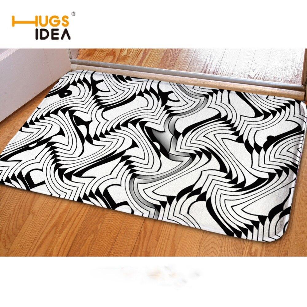 Hugsidea Hot Black White Home Carpets Living Room Bedroom Kitchen
