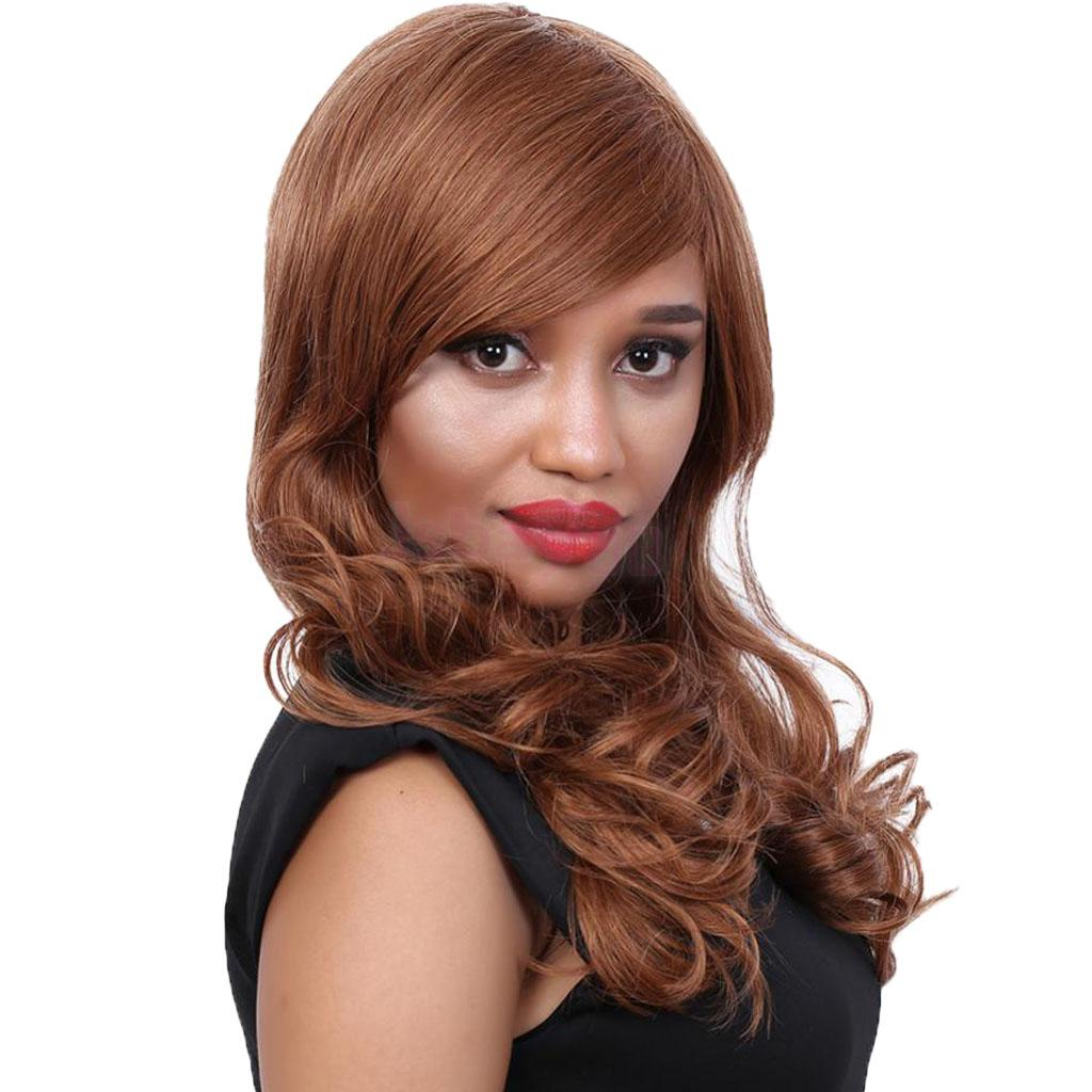 23 inch Brown Human Hair Wigs Side Part Bangs Long Curly Body Wavy Layered Wig for Black Women stylish short capless side bang synthetic fluffy brown highlight curly bump wig for women