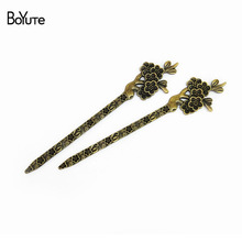 BoYuTe (10 Pieces/Lot) 28*132MM Antique Bronze Silver Plated Plum Blossom Bookmarks Hair Stick Vintage Elegant Women Jewelry