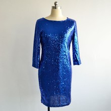 2017 New Style Summer Dress Women O Neck Long Sleeve paillette Sequins Backless Bodycon Slim Pencil Party Dresses