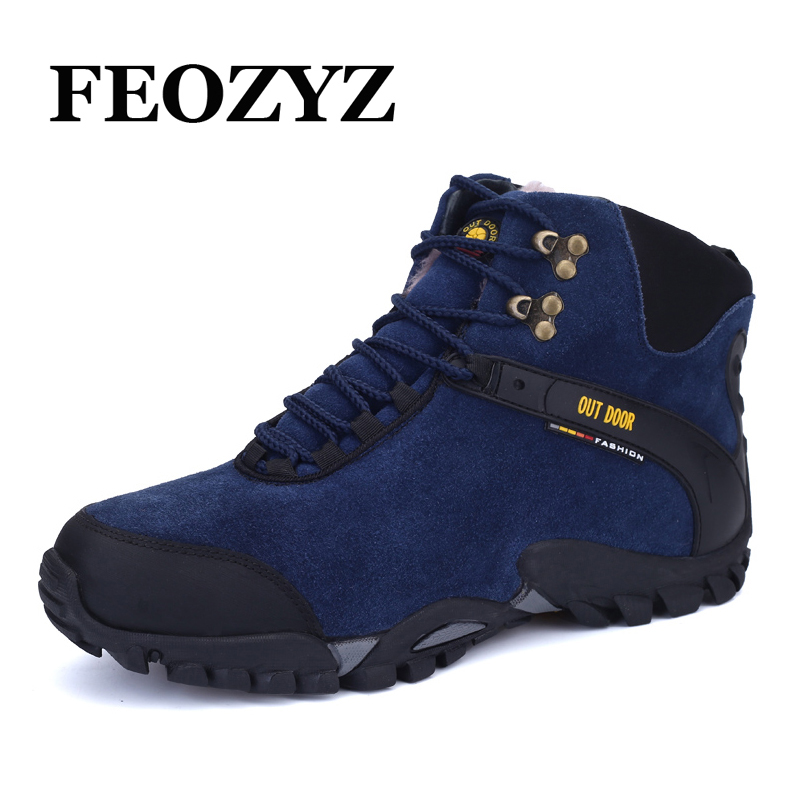 FEOZYZ 2017 Autumn Winter Warm Hiking Shoes High Top Trekking Shoes Waterproof Genuine Leather Outdoor Sport Shoes Men 2017 new mens hiking shoes black blue walking shoes men autumn winter outdoor sport sneakers high top leather trekking shoes men