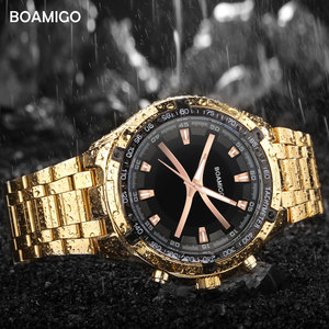 Image 4 - BOAMIGO markowe zegarki męskie moda sport kwarcowy zegarek dla człowieka luksusowy pasek stalowy na rękę męski zegar Relogio Masculino