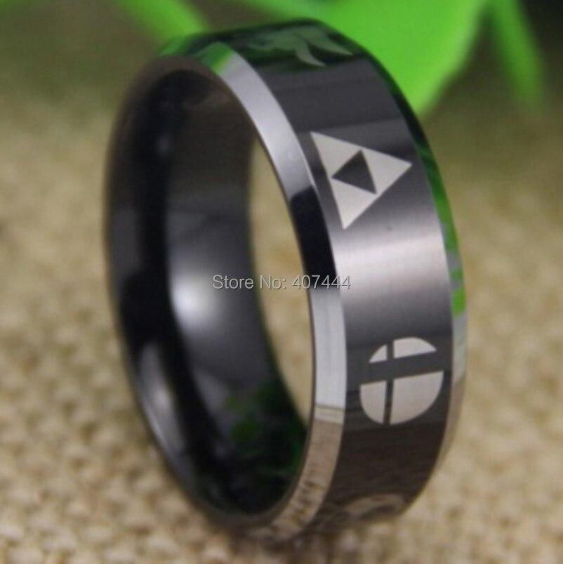все цены на Free Shipping YGK JEWELRY Hot Sale 8MM Super Smash Bros/Metroid/Pokemon/Mario bros/Star/Fox/Zelda Tungsten Ring онлайн