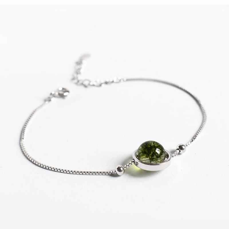 Ruifan Green Ghost Stone Round Crystal Bracelets Ladies 925 Sterling Silver Box Chain Bracelet For Women Fine Jewelry YBR092