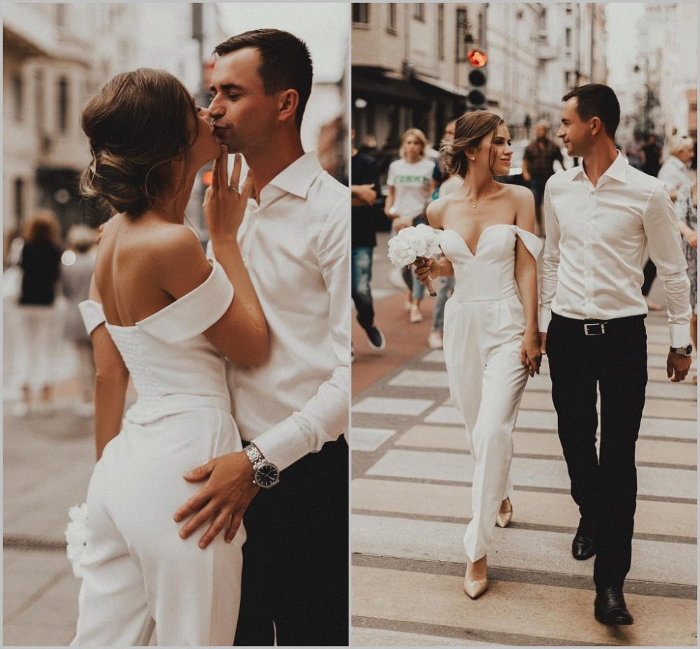 Beach Jumpsuits Wedding Dresses Off The Shoulder Country Bohemian Bridal Gowns 2019 Custom Made Wedding Dress
