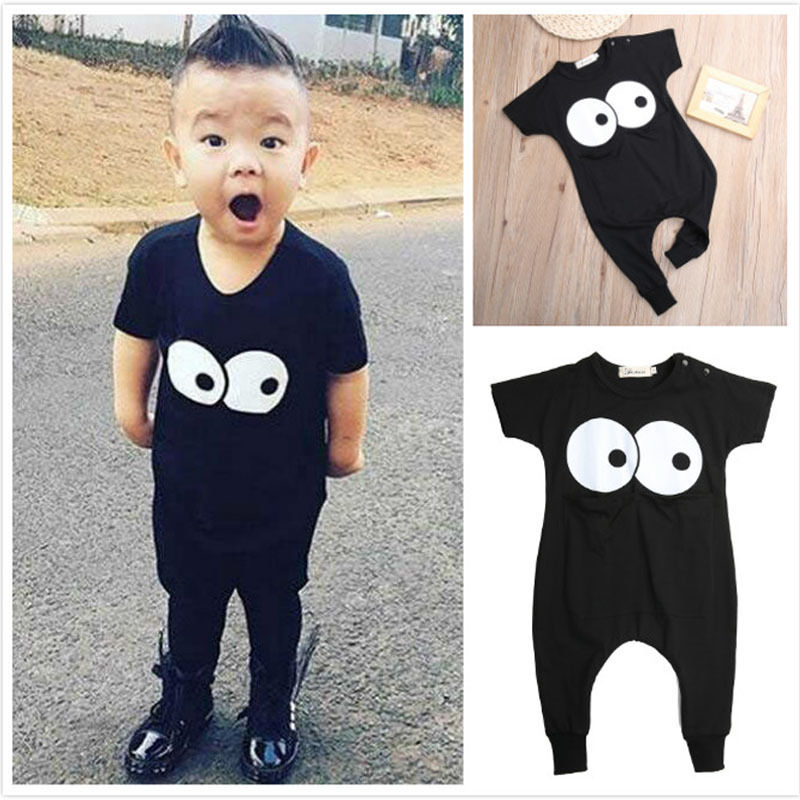 2016 New Newborn Infant Baby Boy Girl Rompers Toddler Clothing Romper Jumpsuit Black Big Eye Cotton Long Sleeve Clothes Outfits newborn infant baby boy girl cotton romper jumpsuit boys girl angel wings long sleeve rompers white gray autumn clothes outfit