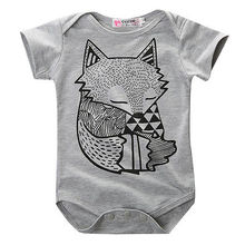 High Quality Cotton Baby Boy Clothes Cute Fox Bodysuits Cotton One Piece Baby Girl Bodysuits Summer Short Sleeve